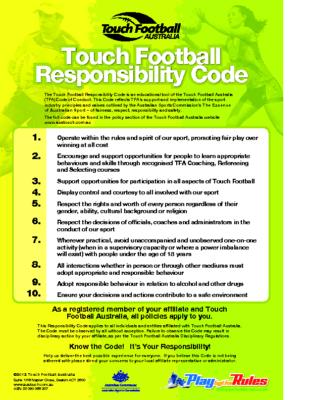 TFA Responsibility Code January 2013 01