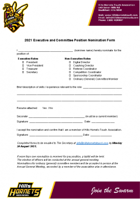 2021 Executive and Committee Position Nomination Form