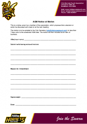 AGM – Notice of Motion