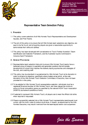 Representative Team Selection Policy